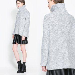 Zara Oversized ribbed heather gray sweater Sz M